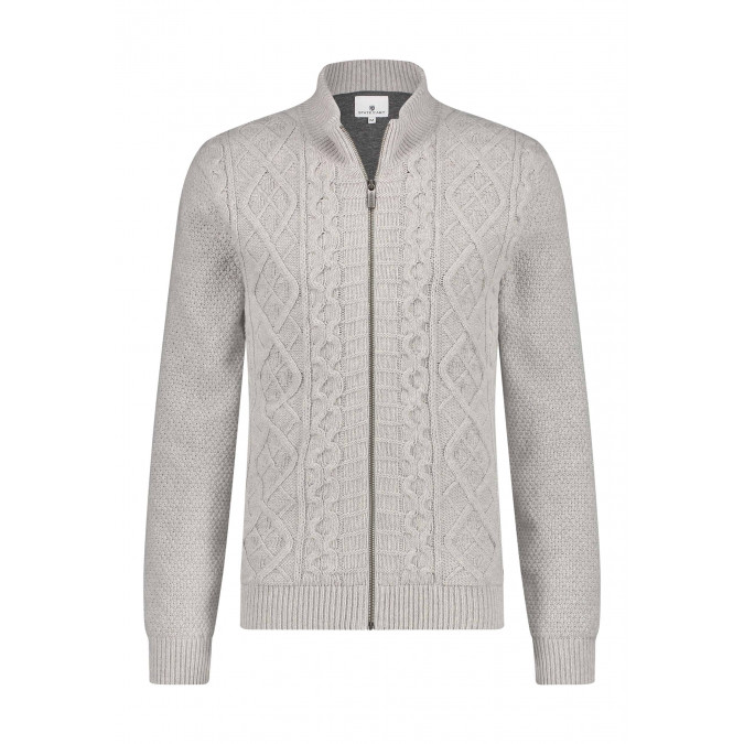 Lambswool-blend-cable-knit-cardigan---silver-grey/mid-grey