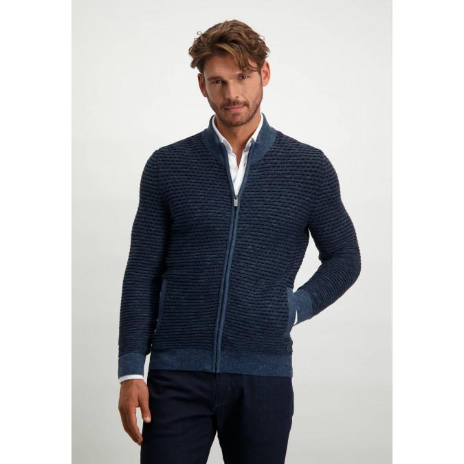 Striped-cotton-pullover---grey-blue/midnight