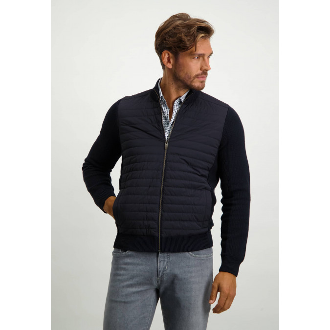 Regular-fit-cardigan-with-nylon-details---midnight/midnight