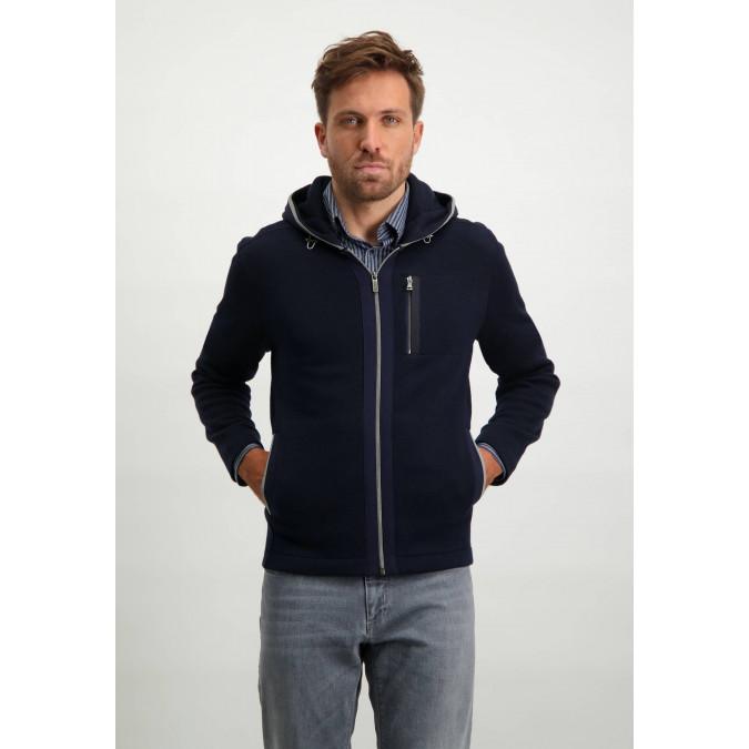 Hooded-fine-knit-cardigan---dark-blue/silvergrey