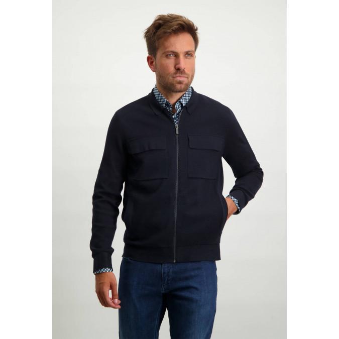 Cotton-blend-cardigan-with-side-pockets---dark-blue-plain