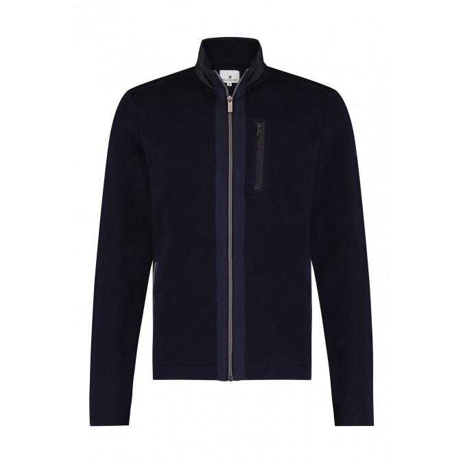 Cardigan-with-slit-pockets-and-zip.---dark-blue/silvergrey