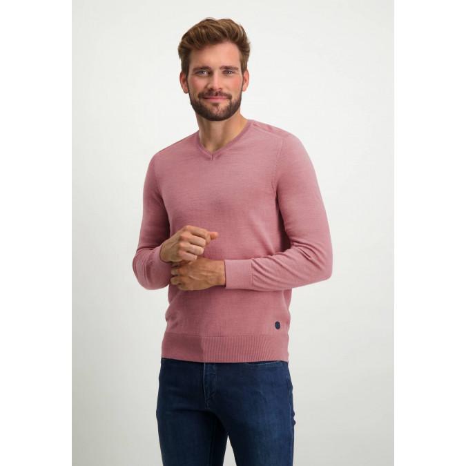 V-hals-trui-van-een-wol-mix---oud-roze-uni