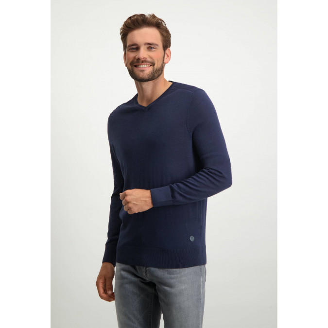 V-hals-trui-van-een-wol-mix---donkerblauw-uni