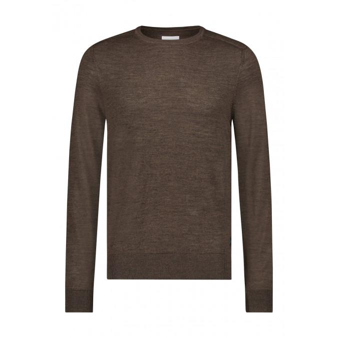 Fijngebreide-trui-van-een-wol-mix---donkerbruin-uni