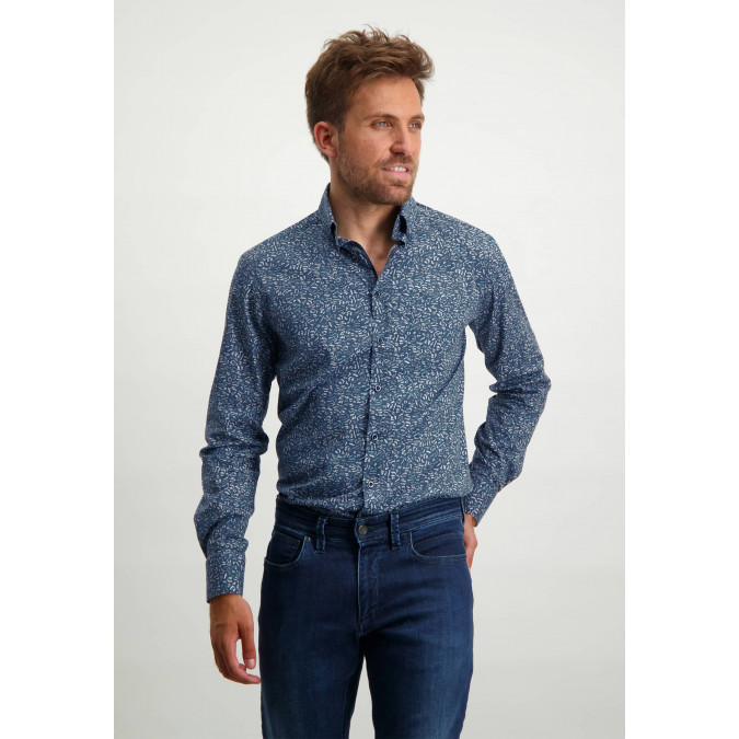 Button-down-shirt-with-all-over-print---cobalt/cream