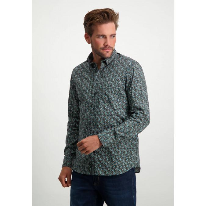 Cotton-shirt-with-stretch---cognac/midnight