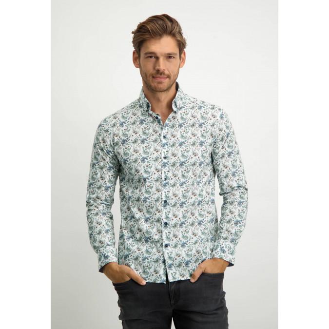 Bedrukt-overhemd-met-regular-fit---grijsblauw/bladgroen