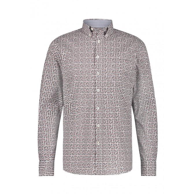 Katoenen-overhemd-met-een-geometrische-print---brique/donkerblauw
