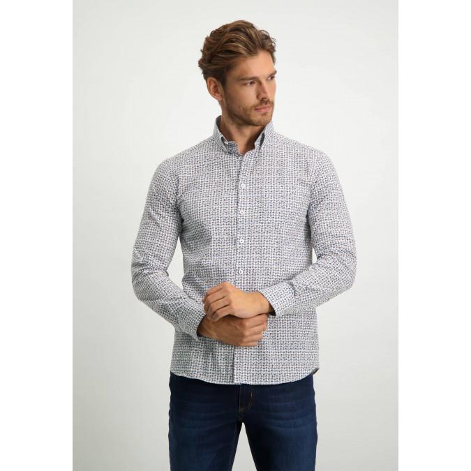 Katoenen-overhemd-met-een-geometrische-print---donkerblauw/cognac