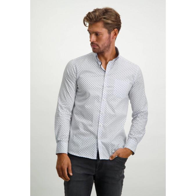 Stretch-shirt-in-regular-fit---silver-grey/light-blue
