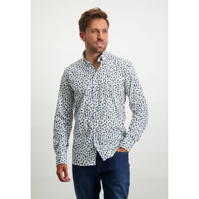 Shirt-with-feather-print---midnight/cobalt