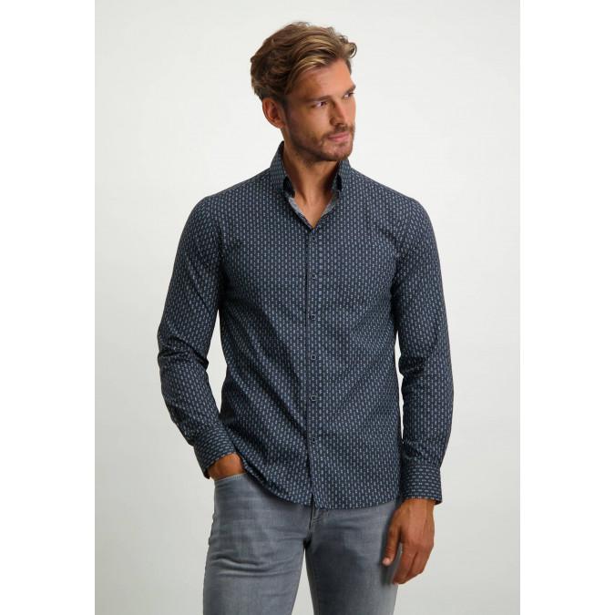 Cotton-button-down-shirt---dark-blue/silvergrey