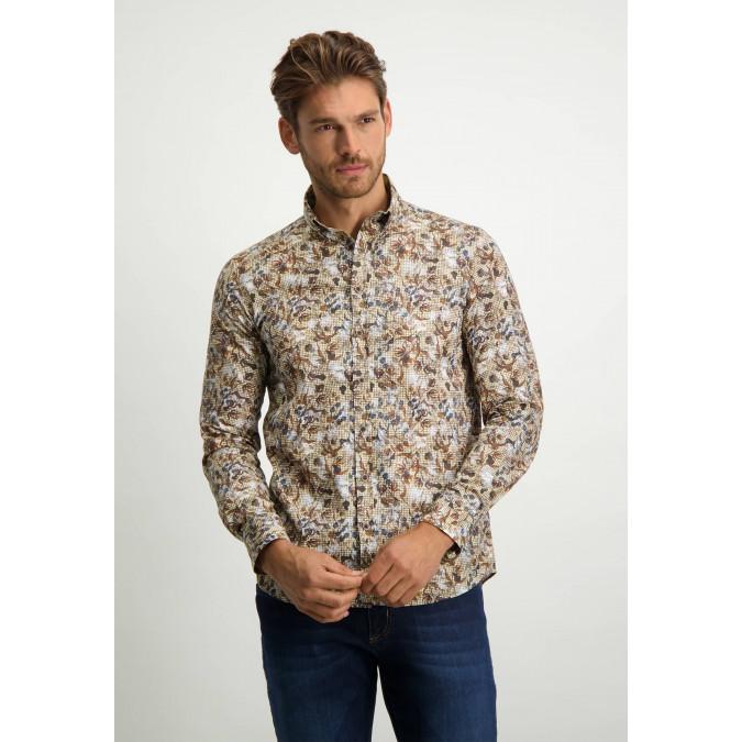 Poplin-shirt-in-regular-fit---cognac/midnight