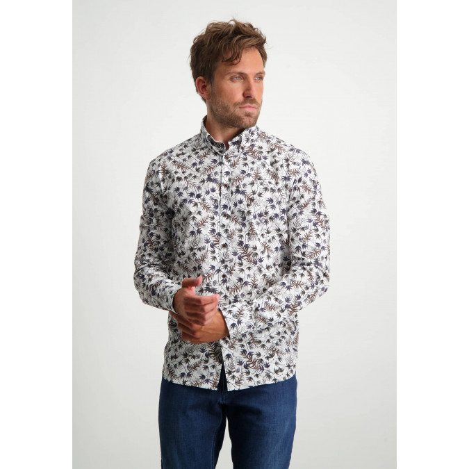 Button-down-shirt-with-botanical-print---cognac/midnight