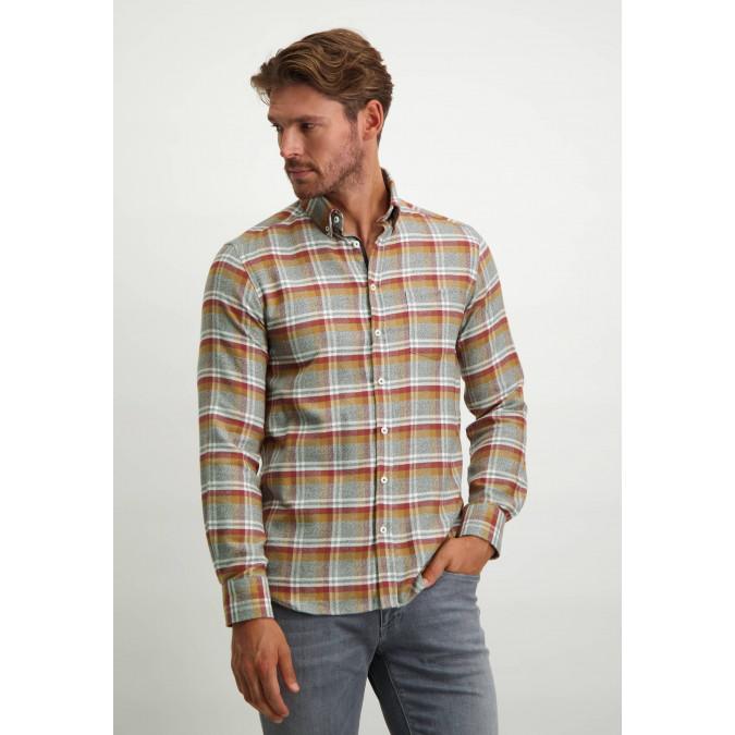 Chequered-100%-cotton-shirt---midnight/brick
