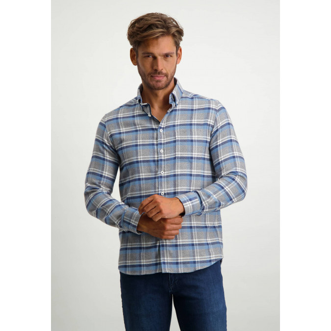 Chequered-100%-cotton-shirt---midnight/cobalt