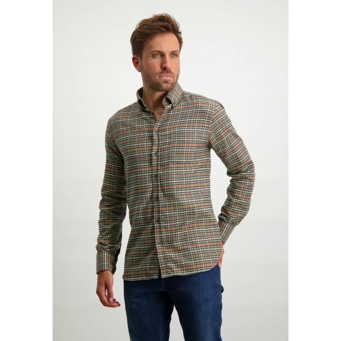 Katoenen-overhemd-met-ruitdessin---donkerblauw/brique