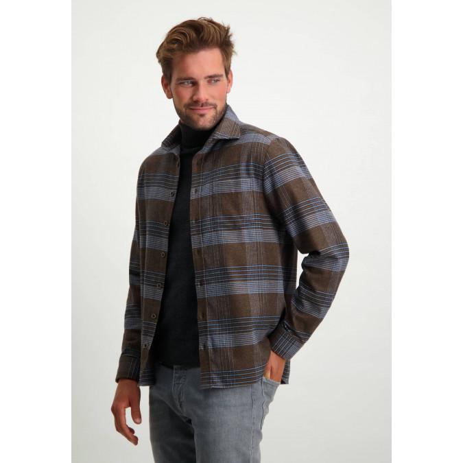 Checked-overshirt-with-cutaway-collar---cognac/midnight