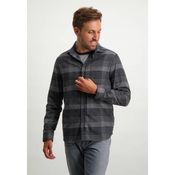 Checked-overshirt-with-cutaway-collar---dark-anthracite/silvergrey