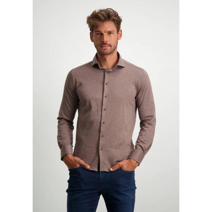 Overhemd-van-100%-katoen---sepia-uni