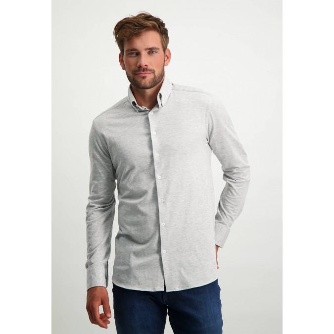 Cotton-shirt-with-button-down-collar---silvergrey-plain