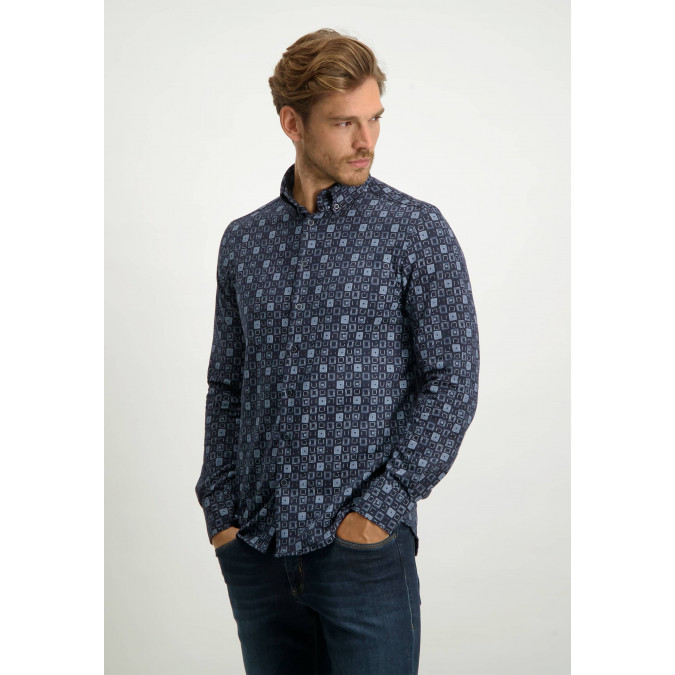Cotton-shirt-with-all-over-print---midnight/cobalt