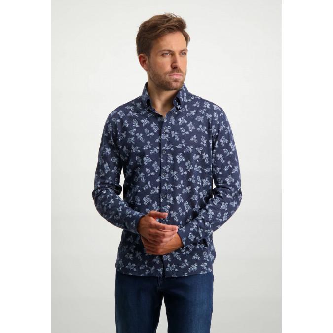Button-down-shirt-in-100%-cotton---midnight/cobalt