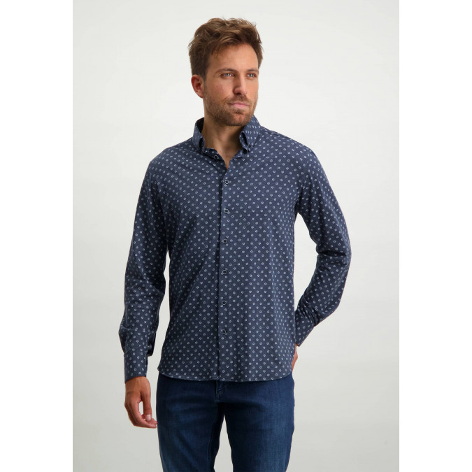 Cotton-shirt-with-all-over-print---dark-blue/white