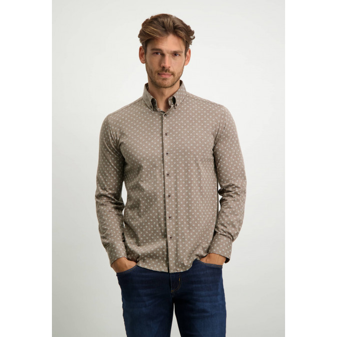 Cotton-shirt-with-all-over-print---cognac/white