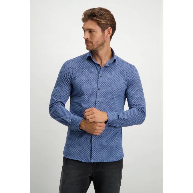 Cotton-shirt-with-button-down-collar---dark-blue/white