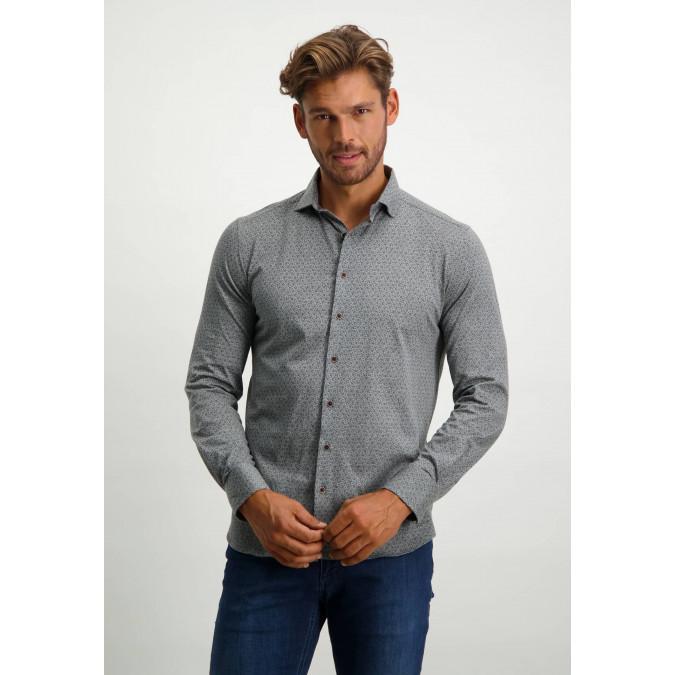 Jersey-shirt-with-cutaway-collar---cognac/dark-brown