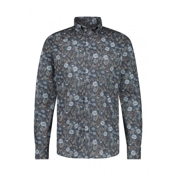 Cotton-stretch-shirt-with-print---dark-blue/silvergrey