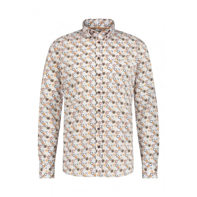 Cotton-shirt-with-chest-pocket---cognac/mango