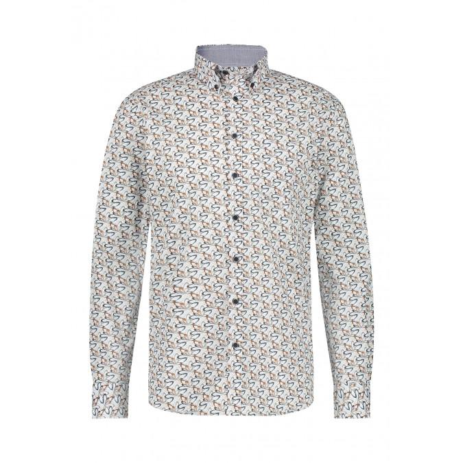 Cotton-shirt-with-stretch---dark-blue/silvergrey