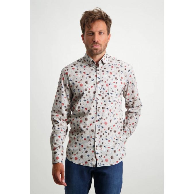 Printed-organic-cotton-shirt---dusty-pink/sepia