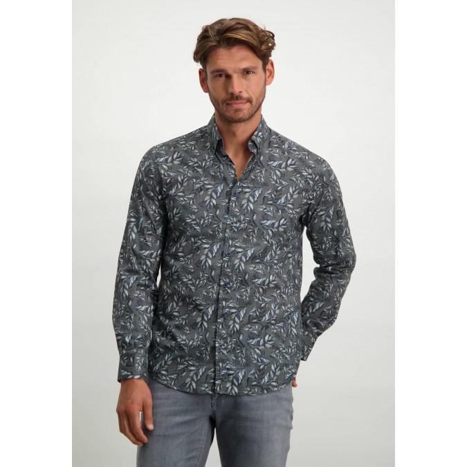 Poplin-organic-cotton-shirt---dark-blue/silvergrey