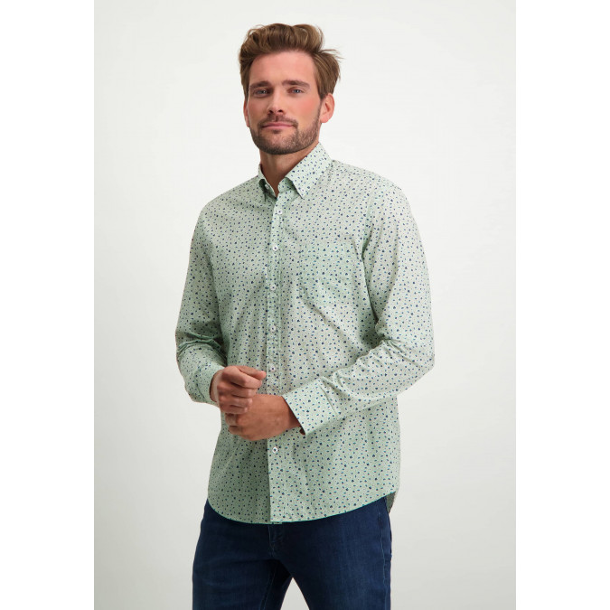 Shirt-of-organic-cotton-with-print---emerald-green/grey-blue