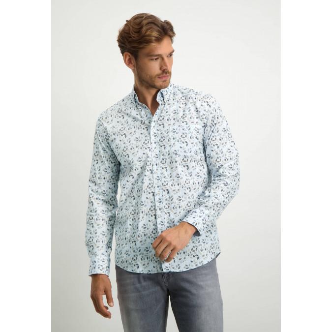 Overhemd-van-biologisch-katoen-met-borstzak---donkerblauw/cognac