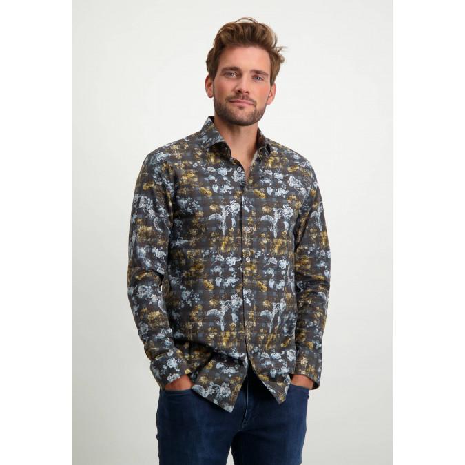 Regular-fit-organic-cotton-shirt---midnight/cognac