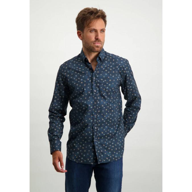 Organic-cotton-button-down-shirt---midnight/grey-blue