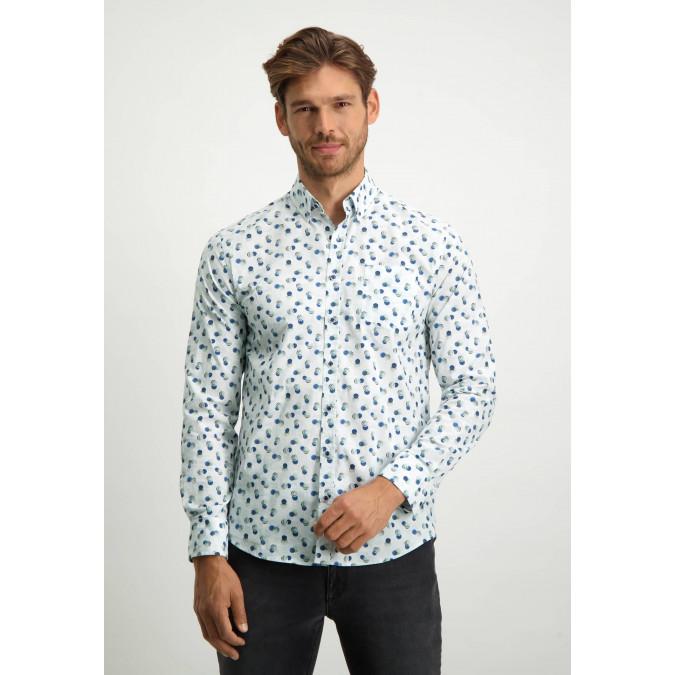 Button-down-shirt-in-organic-cotton---grey-blue/emerald-green