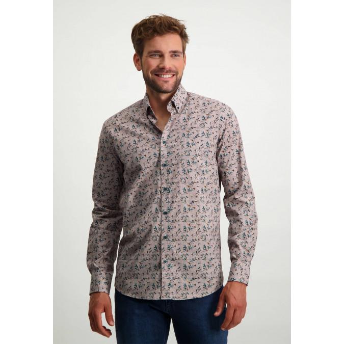 Organic-cotton-button-down-shirt---brick/cognac