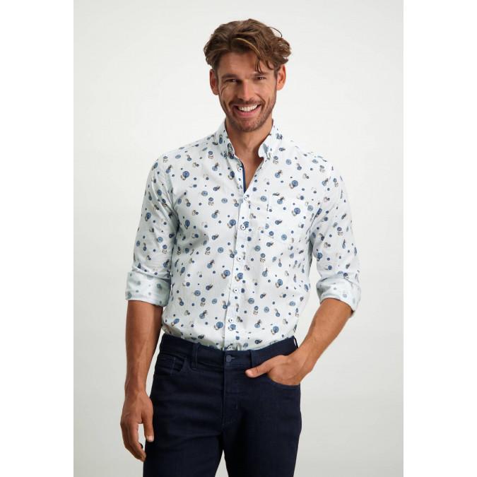 Organic-cotton-button-down-shirt---cobalt/cognac