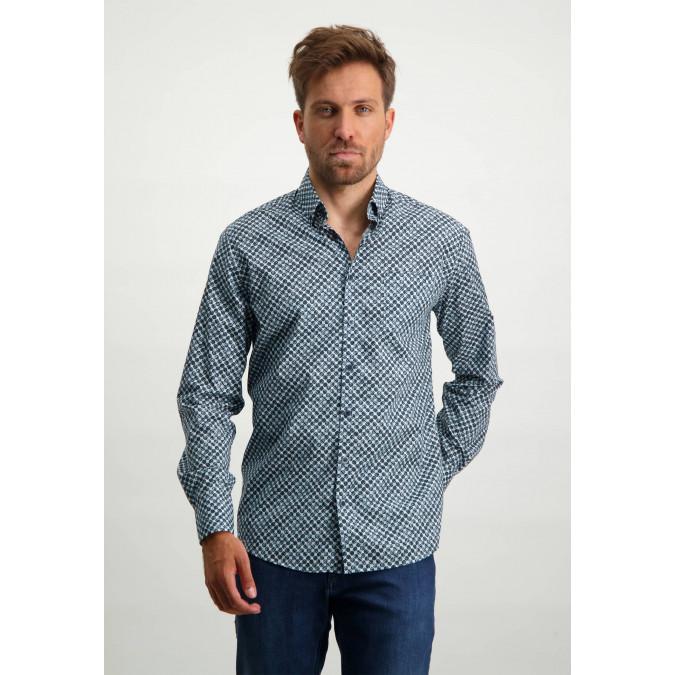 Poplin-organic-cotton-shirt---midnight/light-blue