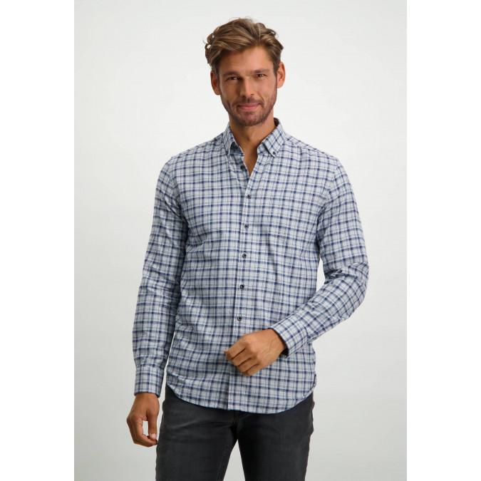 Flanel-organic-cotton-shirt---silvergrey/cobalt