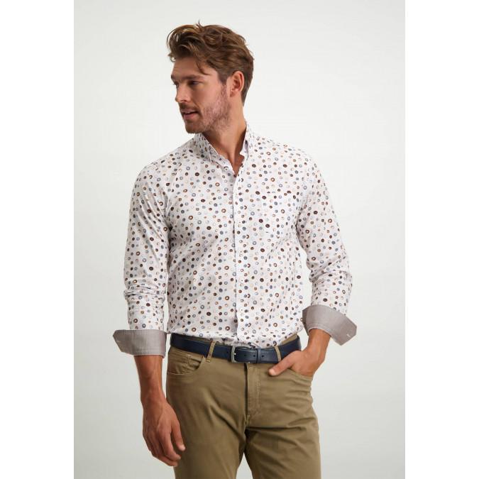 Organic-cotton-button-down-shirt---midnight/cognac
