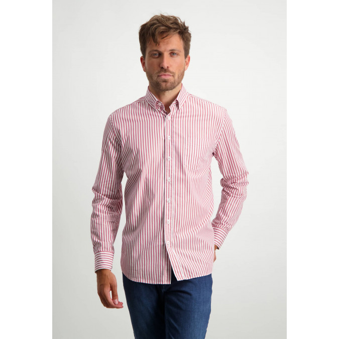 Streep-overhemd-van-biologisch-katoen---oud-roze/wit