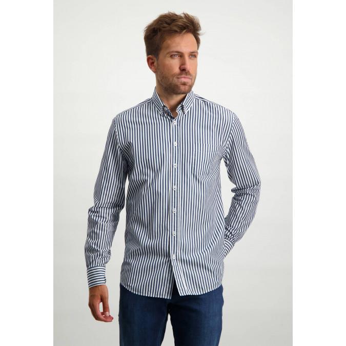 Striped-organic-cotton-shirt---cobalt/white