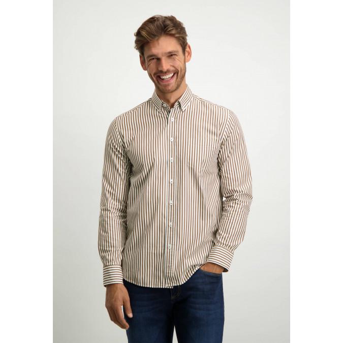 Striped-organic-cotton-shirt---cognac/white